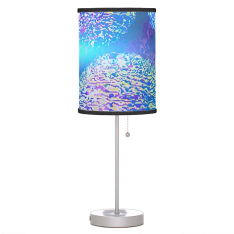 Outer Flow III, Abstract Cyan, Teal Azure Galaxy Table Lamp