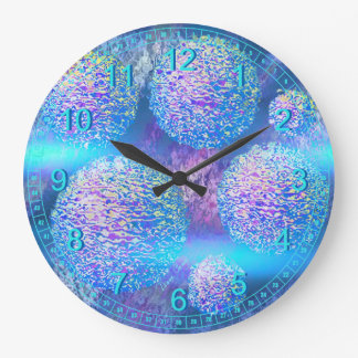Outer Flow III  Abstract Fractal Aqua Azure Galaxy Large Clock