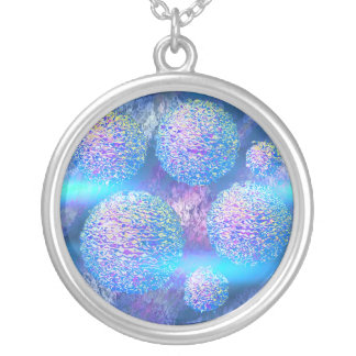 Outer Flow III  Abstract Fractal Aqua Azure Galaxy Round Pendant Necklace