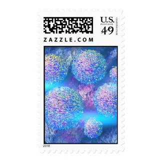 Outer Flow III  Abstract Fractal Aqua Azure Galaxy Postage Stamps