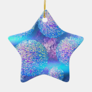 Outer Flow III  Abstract Fractal Cyan Azure Galaxy Ceramic Ornament