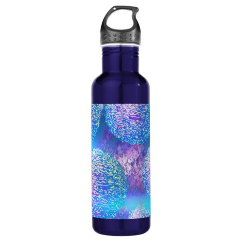 Outer Flow III  Abstract Fractal Cyan Azure Galaxy Stainless Steel Water Bottle