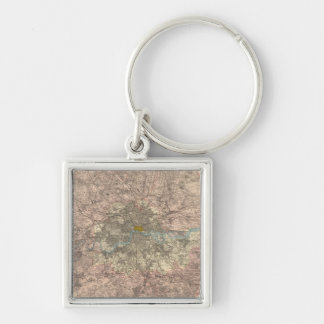 Outer London Silver-Colored Square Keychain