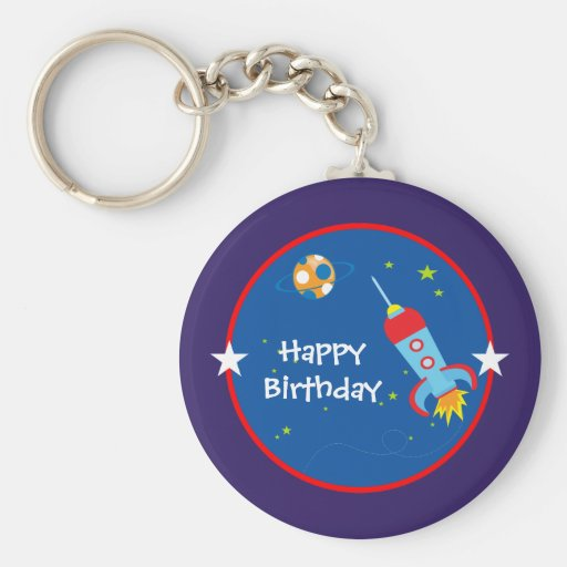 Outer Space 1 Birthday Keychain
