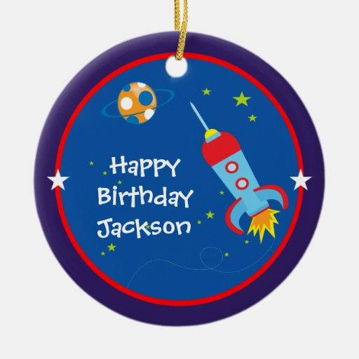 Outer Space 1 Birthday Ornament