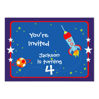 Outer Space 1 Birthday Party Invitation