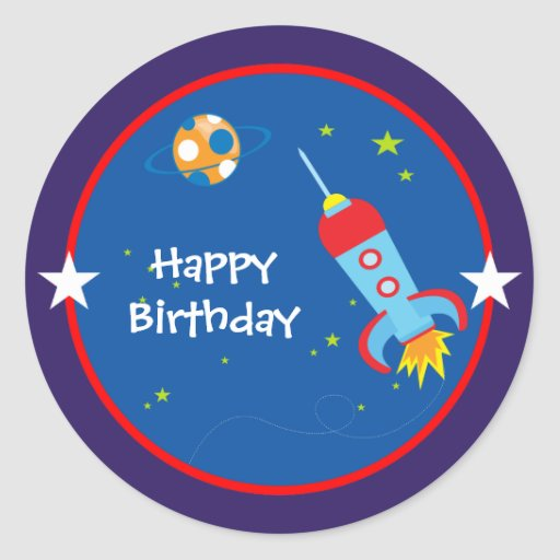 Outer Space 1 Birthday Stickers