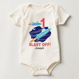 Outer Space 1st Birthday Baby Bodysuit