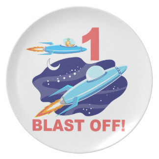 Outer Space 1st Birthday Party Plate