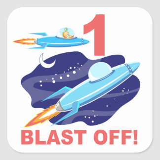 Outer Space 1st Birthday Square Stickers
