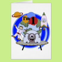 Outer Space 1st Birthday  T-shirts and Gifts Card