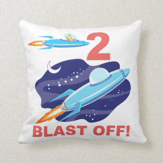 Outer Space 2nd Birthday Throw Pillow