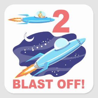 Outer Space 2nd Birthday Square Sticker