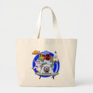 Outer Space 2nd Birthday T-shirts and Gifts Large Tote Bag