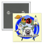 Outer Space 3rd Birthday Tshirts and Gifts Button