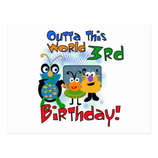 Outer Space 3rd Birthday Tshirts and Gifts Postcard
