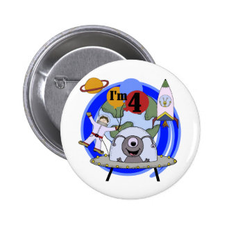 Outer Space 4th Birthday Tshirts and Gifts 2 Inch Round Button
