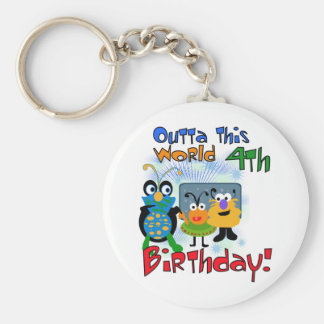 Outer Space 4th Birthday Tshirts and Gifts Basic Round Button Keychain