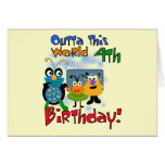 Outer Space 4th Birthday Tshirts and Gifts Card