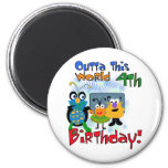 Outer Space 4th Birthday Tshirts and Gifts Refrigerator Magnets