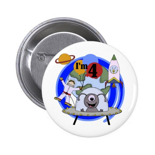 Outer space 4th birthday tshirts and gifts pin zazzle for Outer space gifts