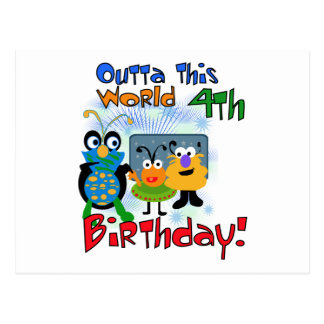 Outer Space 4th Birthday Tshirts and Gifts Postcard