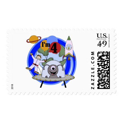 Outer Space 4th Birthday Tshirts and Gifts Stamps