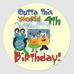 Outer Space 4th Birthday Tshirts and Gifts Stickers
