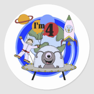 Outer Space 4th Birthday Tshirts and Gifts Classic Round Sticker