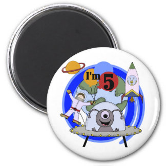 Outer Space 5th Birthday Tshirts and Gifts 2 Inch Round Magnet