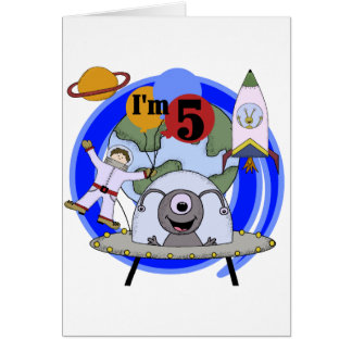Outer Space 5th Birthday Tshirts and Gifts Card