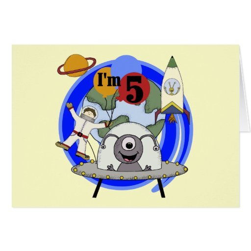 Outer Space 5th Birthday Tshirts and Gifts Greeting Card