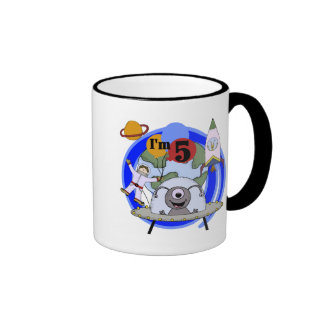 Outer Space 5th Birthday Tshirts and Gifts Ringer Coffee Mug