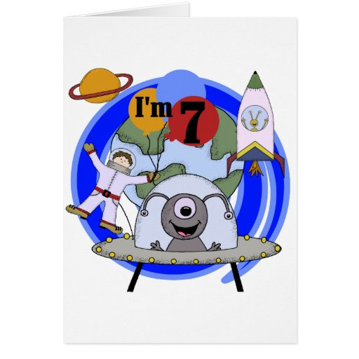 Outer Space 7th Birthday Tshirts and Gifts Greeting Cards