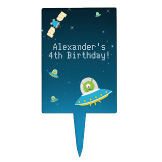 Outer Space Alien Boy Birthday Cake Toppers