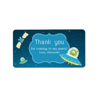 Outer Space Alien Boy Birthday Favor Tags Label