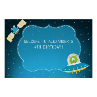 Outer Space Alien Boy Birthday Party Poster