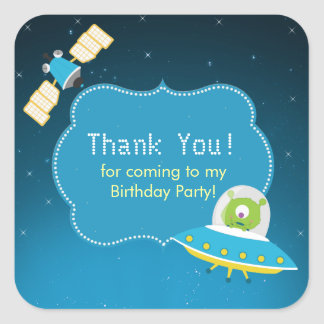 Outer Space Alien Boy Birthday Party Sticker
