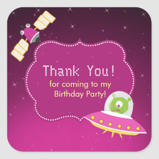 Outer Space Alien Girl Birthday Party Sticker