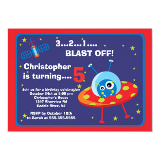 Outer Space Alien Kids Birthday Party Invitation