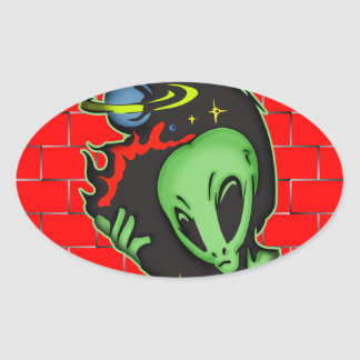 Outer Space Alien Oval Sticker