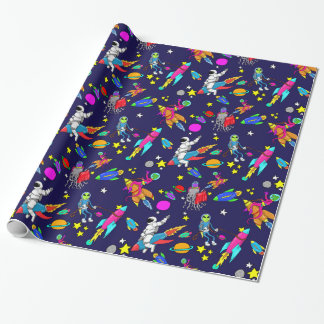 outer space alien rocket rodeo wrapping paper
