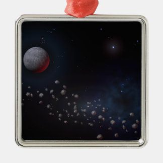 Outer Space Asteroids & Planets Metal Ornament