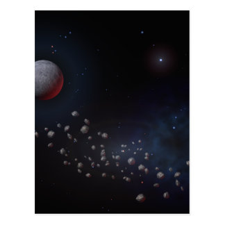 Outer Space Asteroids & Planets Postcard