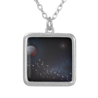 Outer Space Asteroids & Planets Silver Plated Necklace