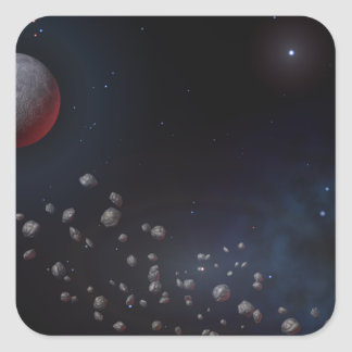 Outer Space Asteroids & Planets Square Sticker