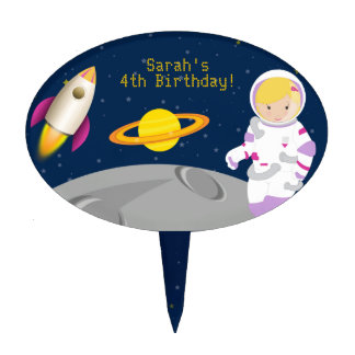 Outer Space Astronaut Birthday Cake Topper