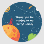 Outer Space Astronaut Birthday Favor Tag Sticker
