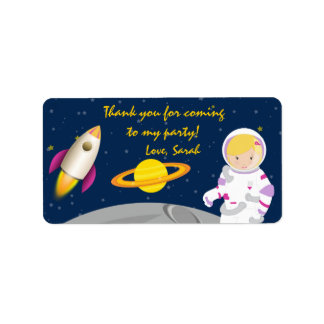 Outer Space Astronaut Birthday Favor Tags Label