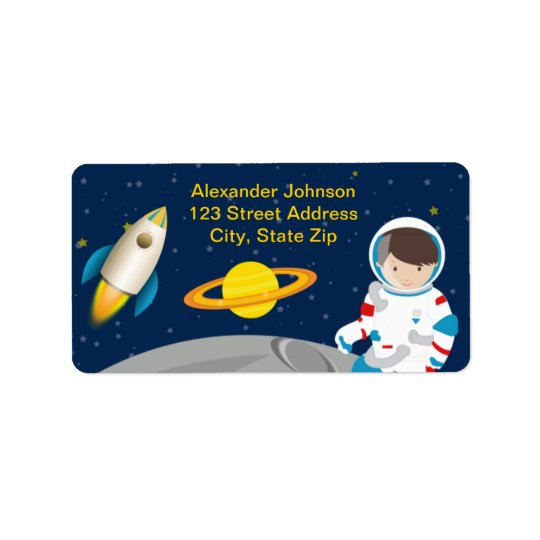outer space astronaut birthday party address label zazzle com